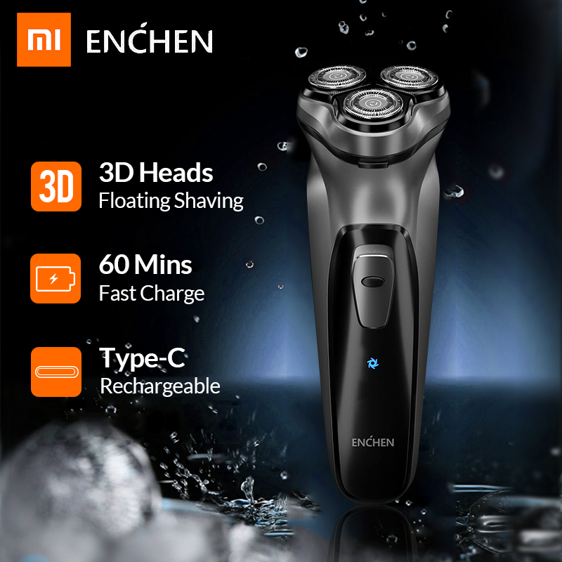 Xiaomi Enchen BlackStone 3D Electric Shaver Razor For Men Beard Hair Trimmer USB Type-C Rechargeable One Blade Shaving Machine