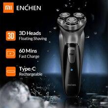 Xiaomi enchen blackstone 3d barbeador elétrico navalha para homens barba aparador de cabelo usb tipo c recarregável uma lâmina de barbear máquina
