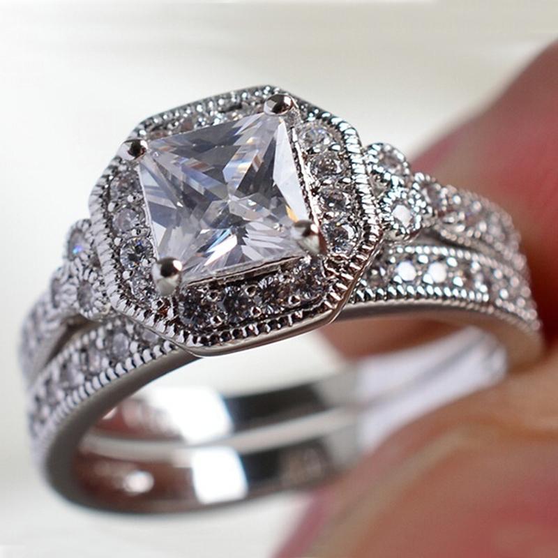 2pcs/Set Fashion Women Rings Set Vintage Geometric Crystal Rhinestones Rings Set For Women Jewelry Accessories Wedding Girl Gift