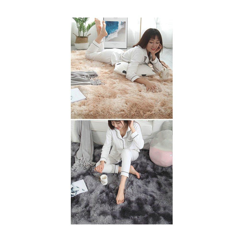 Cravate teinte en peluche chambre chevet couverture nordique Ins vent salon tapis plein magasin personnalisé lavable en Machine - 5