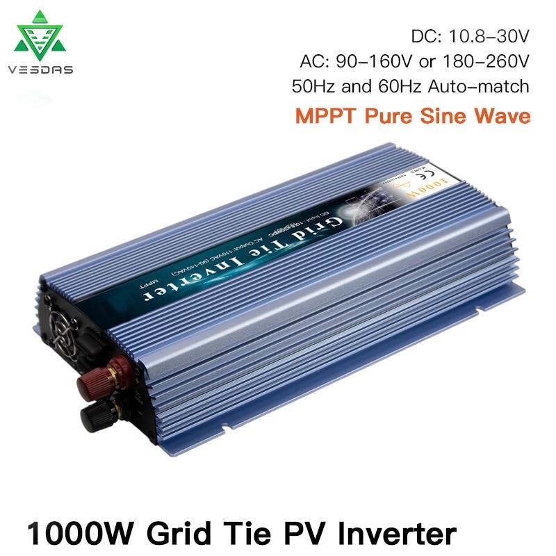 Inversor Solar MPPT de onda sinusoidal pura, 1000W, 18V, 24V, 36V, 110V, 220V