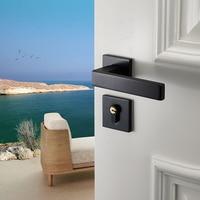 Fechadura da porta do quarto com maçaneta da porta preta fechadura da porta interior de madeira continental alças de bloqueio para casa