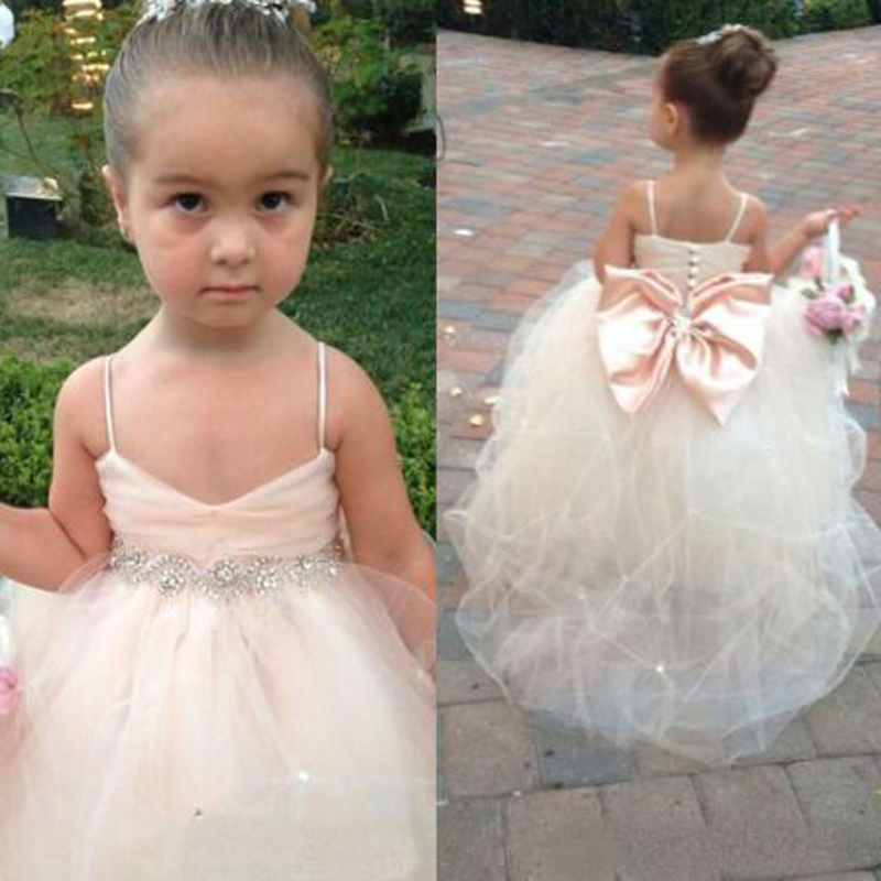 Lovely Row Rashes Ruched Spaghetti Straps A-line   Flower     Girl     Dresses   Cute Sleeveless Scoop Neck Floor Length Communion Gown