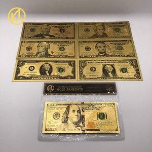 7 шт./компл. 24K позолоченные долларов, антикварные памятные сувениры, пластиковые карты, украшения для дома