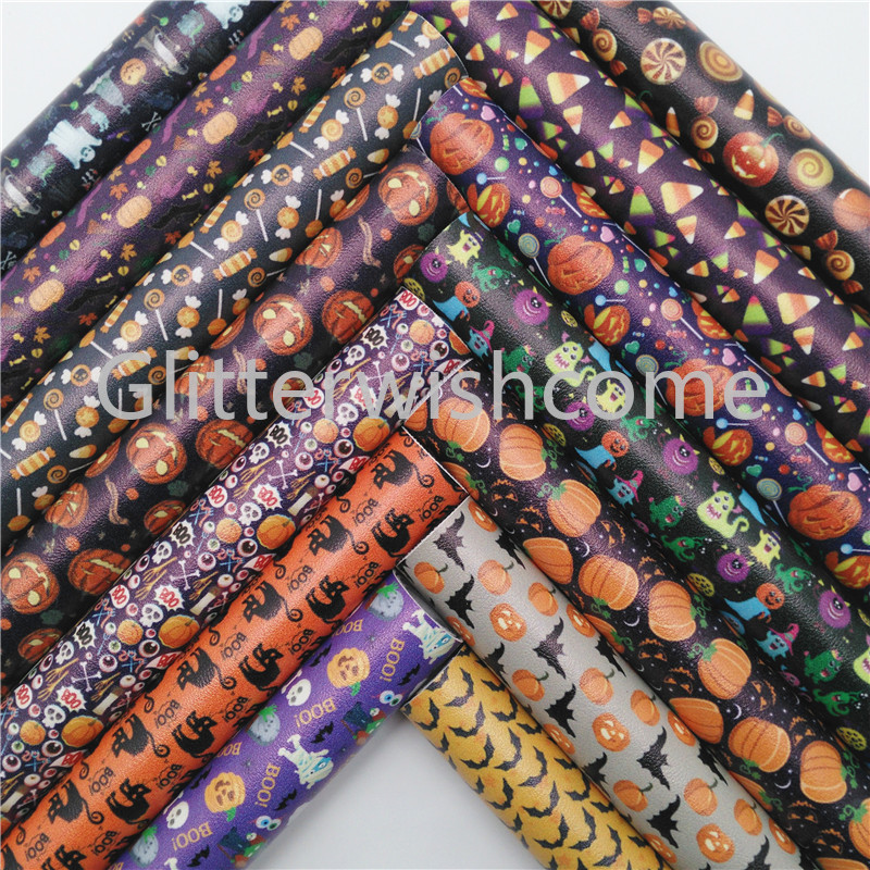 Glitterwishcome 21X29CM A4 Size Halloween Faux Fabric, Candy Cats Pumpkin Printed Faux Leather Sheets For Bows, GM511A