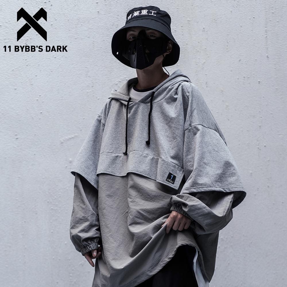 11 BYBB'S DARK Fake Two Harajuku Japanese Hoodies Men Women 2020SS Spring Summer Hip Hop Streetwear Pullover Hooded Jackets