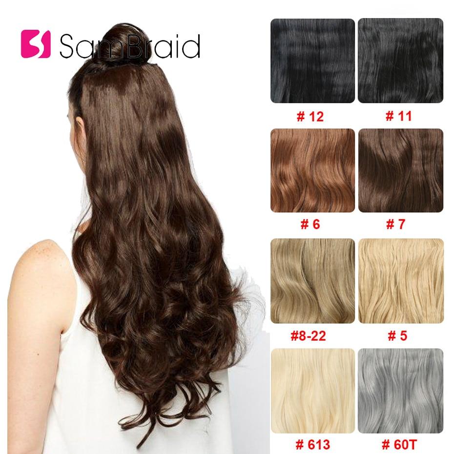 SAMBRAID przedłużanie włosów włosy syntetyczne 4 klipsy w jednym kawałku 24 cale naturalne długie włosy 190g dla kobiet