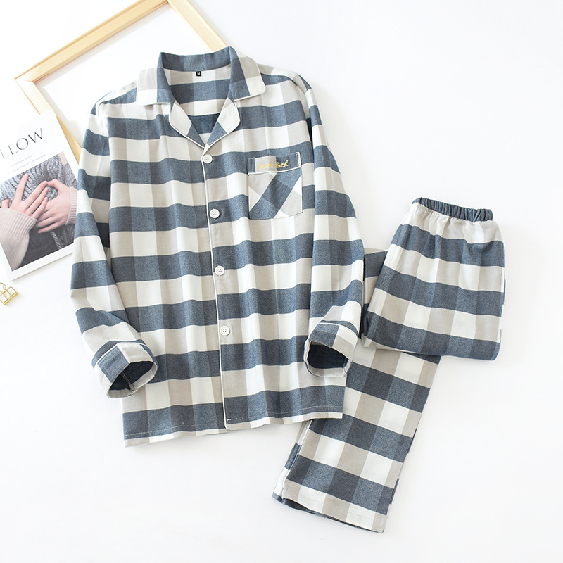 Lovers Pure Cotton Long-sleeved Pajamas Double-sided Brushed Women Winters Clothing Suit Loungewear Sleepwear Plaid Home Clothes