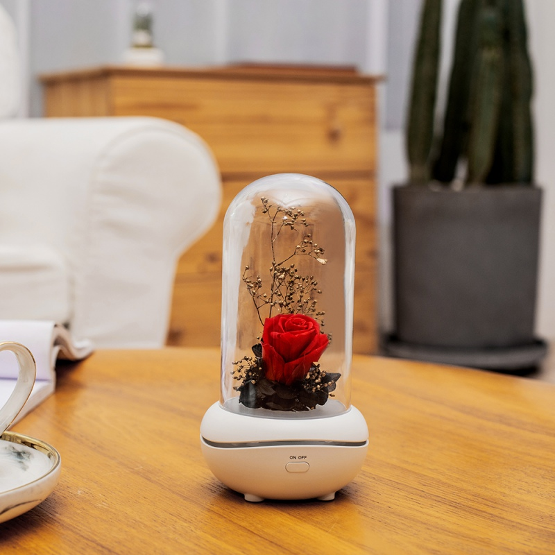 Aromatherapy Diffuser Eternal Rose Flower Ultrasonic Essential Oil Aroma Air Humidifiers 7 Color LED Night Light Office Home Car