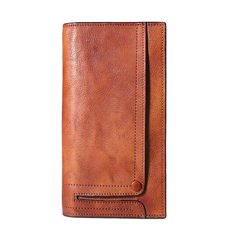 ヴィンテージデザイナー本物の野菜なめし革紳士ラージカード財布レトロクラッチ財布写真ホルダーメンズロングデザイン二つ折り財布  グループ上の スーツケース & バッグ からの 財布 の中 1