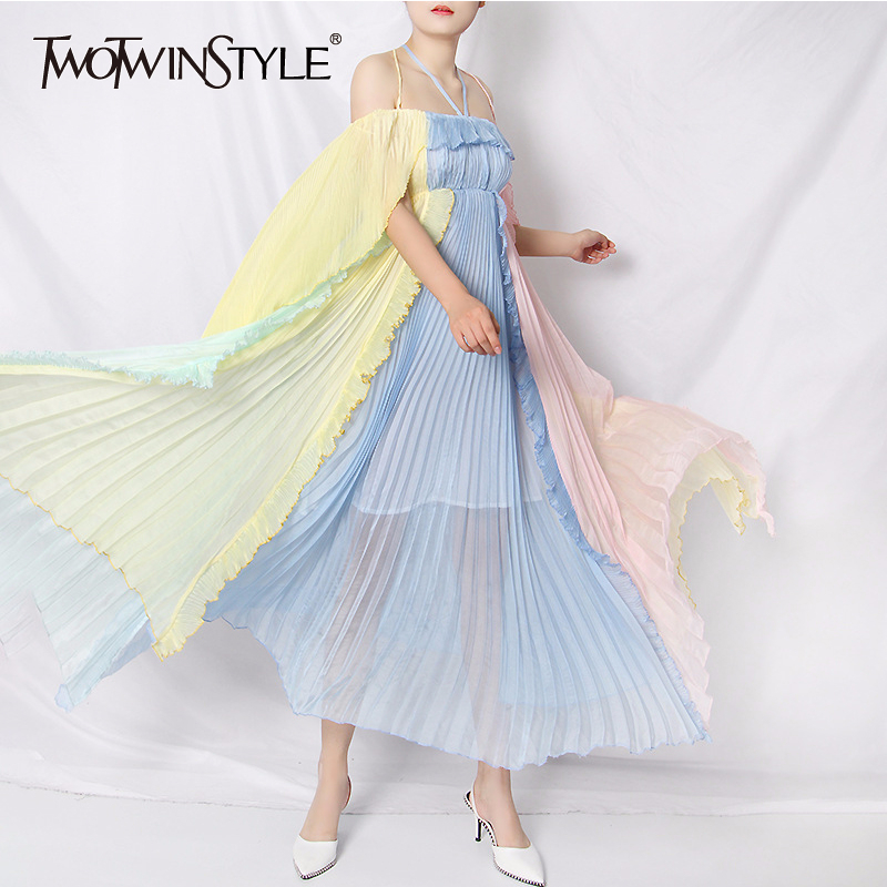 TWOTWINSTYLE Elegant Patchwork Ruffle Dresses Female V Neck Spaghetti Strap High Waist Hit Color Mesh Summer Dress Women Fashion