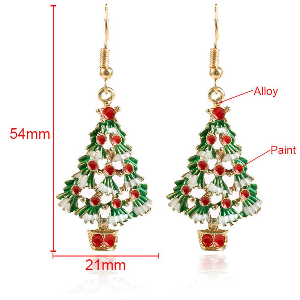 2 قطعة شجرة عيد الميلاد القرط قلادة عيد الميلاد الديكور للمنزل سعيد السنة الجديدة 2020 عيد الميلاد نويل هدية الكريسماس حلية