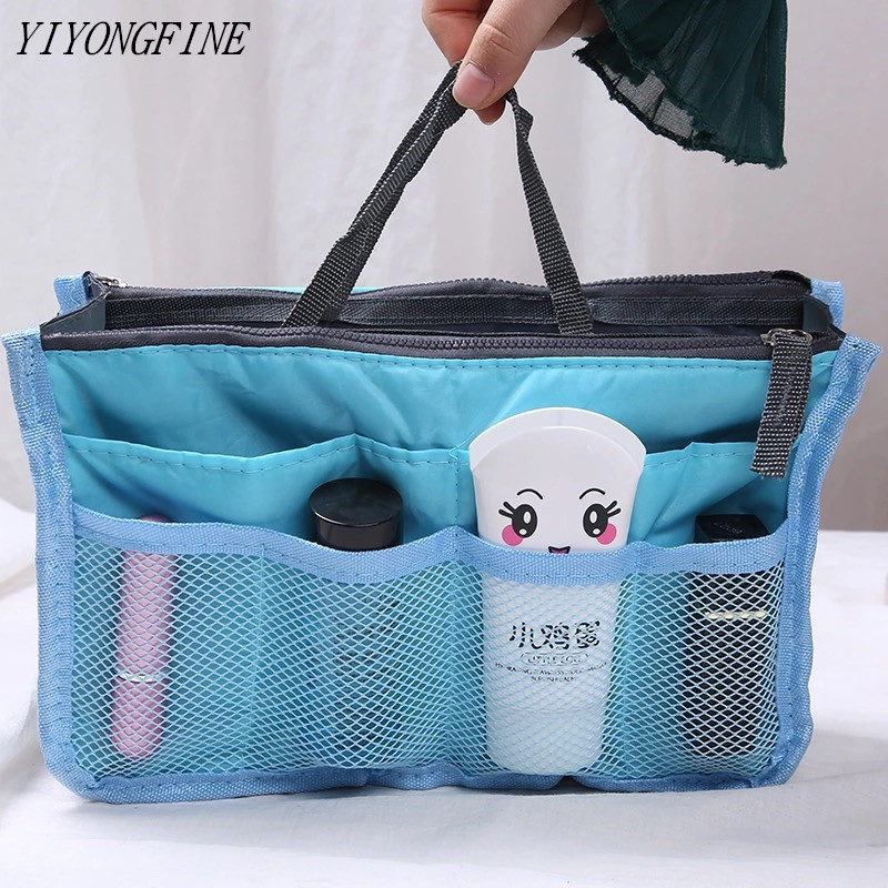 Multifunction Tote Organizer Insert Bag Women Nylon Travel Insert Organizer Handbag Purse Large Liner Lady Makeup Cosmetic Bag