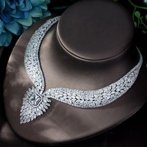 Image 5 - HIBRIDE חדש לבן צבע אופנה למעלה איכות חתונת תכשיטי סטי AAA CZ גיאומטרי כלה עגילי שרשרת סטי N 1141