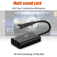 Portable External Sound Card USB 2.0 Type-C to 3.5mm Jack Headphone Microphone Audio Adapter for Windows Mac Linux Android