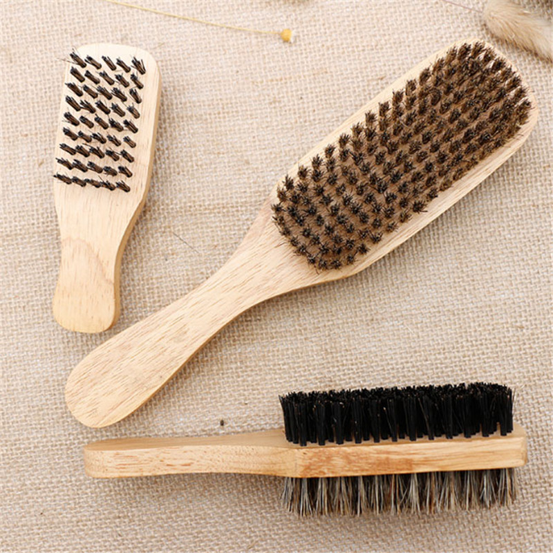 3 Size Male Face Massage Wooden Handle Men's Beard Brush Double-face Facial Hairbrush  Men Mustache Brushes Comb 1PC