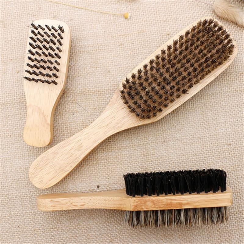 3 Size Male Face Massage Wooden Handle Men's Beard Brush Double-face Facial Hairbrush  Men Mustache Brushes Comb 1PC