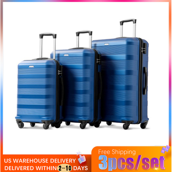 3pcs / Set of Champagne Colored Light Suitcase Hard ABS Rolling Luggage Trim Wheel Carrying Luggage Suitable for Travel Vacation