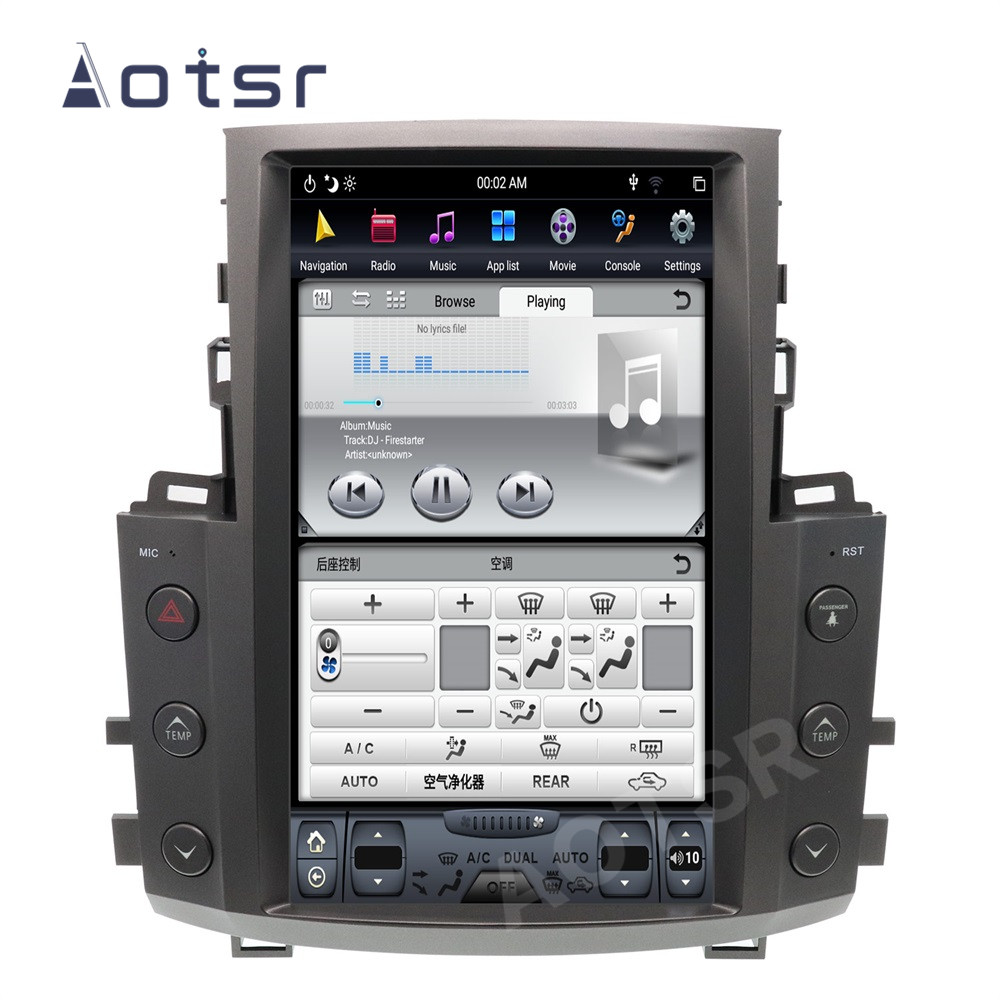 AOTSR Tesla Style Android 9 Car Radio For <font><b>Lexus</b></font> LX570 2007 - 2015 GPS Navigation PX6 Multimedia Player DSP Carplay IPS Autoradio image