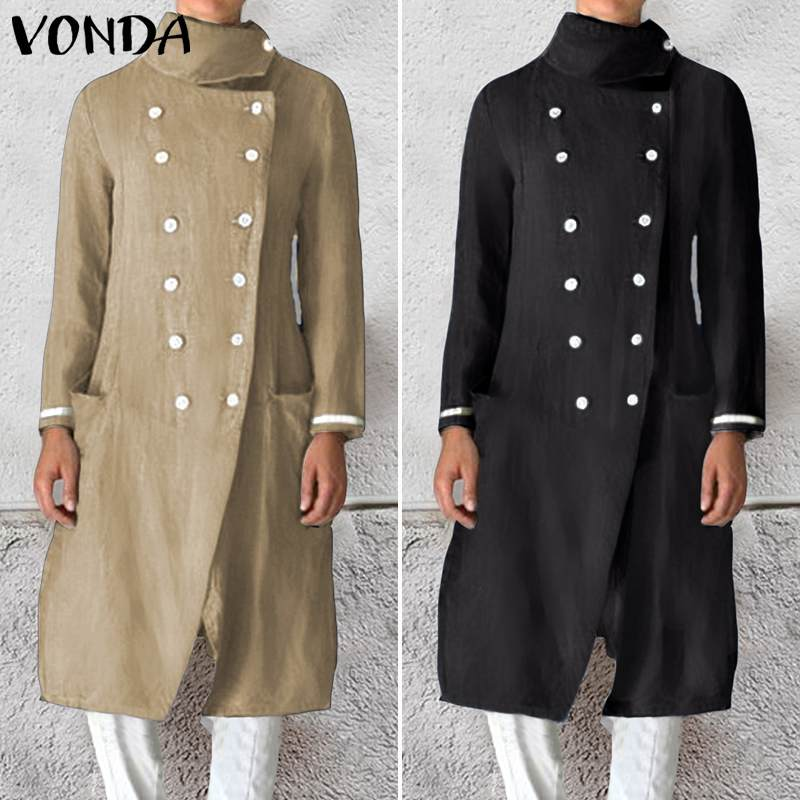 Women Coats VONDA Female Slim Wild Medium Length Windbreaker Coats Double-breasted Jackets Casual Style Cardigan S-5XL
