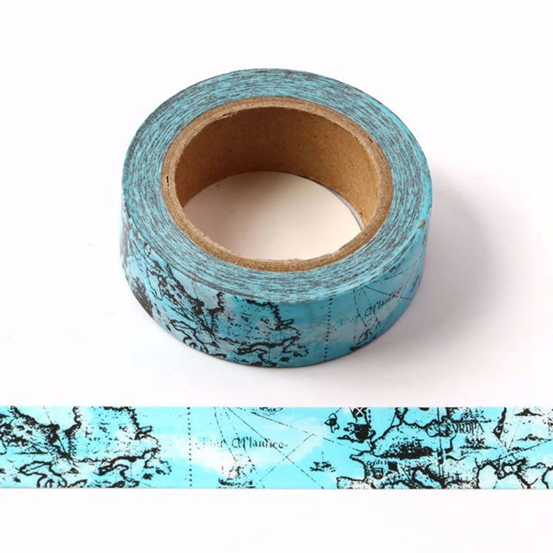 10PCS/lot Decorative Blue Map Washi Tapes Paper For Planner Scrapbooking Bullet Journal Adhesive Masking Tapes School Supply
