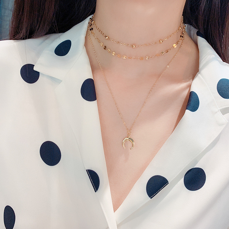 Fringed Crystal Necklace Clavicle Chain Female Moon Imitation Pearl Multilayer Necklace Luxury Personality Ladies Collar Jewelry