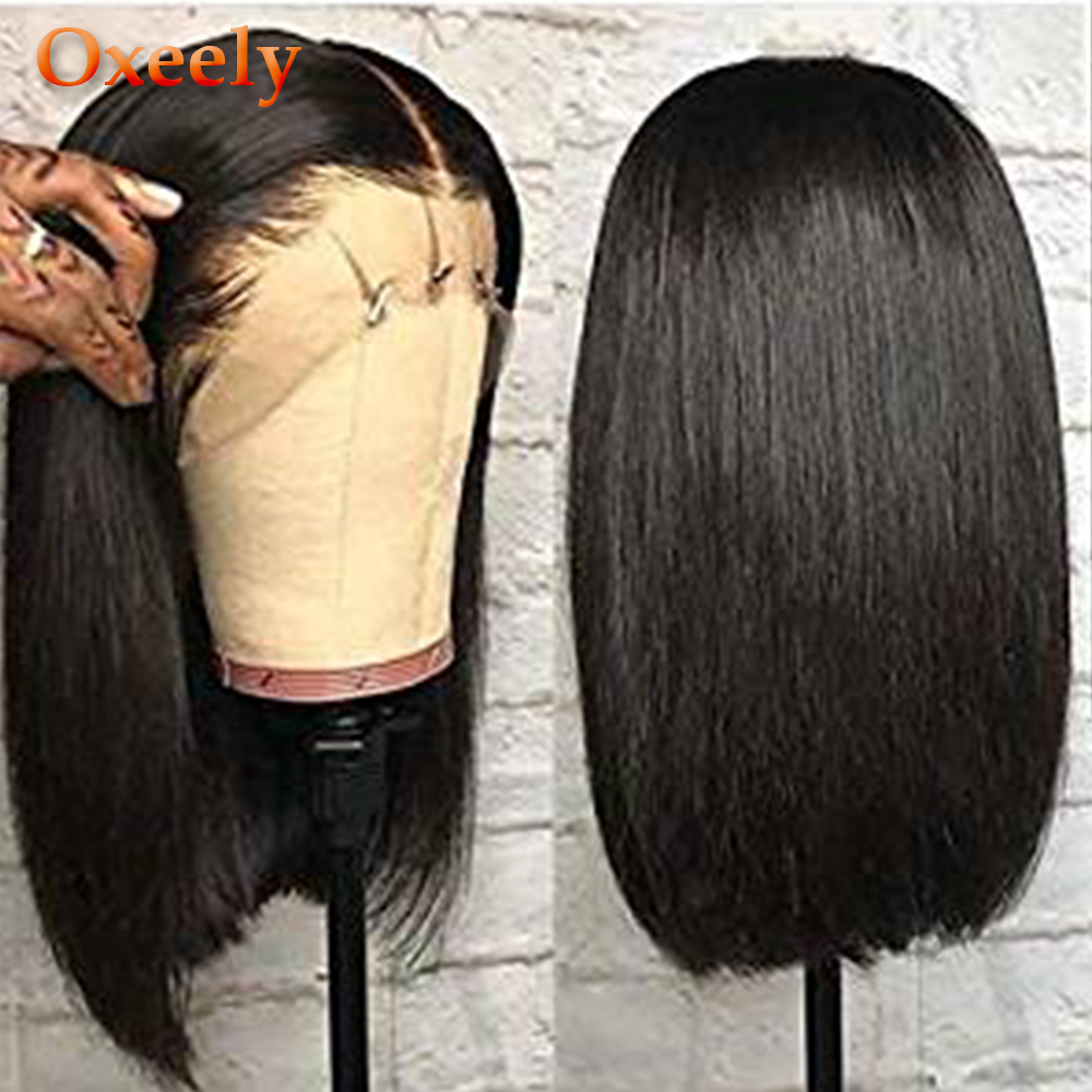 Oxeely Lace Front Wigs Black Short Bob Wig Heat Resistant Fiber Hair Natural Straight Bob Synthetic Lace Front Wigs For Women
