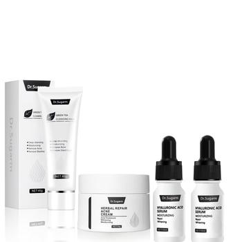 Dr.Sugarm Skin Care Set Hyaluronic Acid Face Serum Anti Aging Green Tea Cleansing Moisturizing Mask Acne Repair Whitening Cream