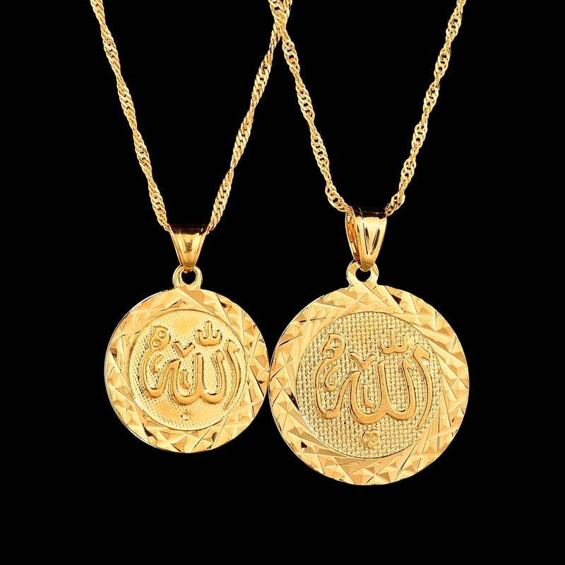 1Pcs 6 cm Chunky Chain Round Coin Pendant Necklace Dubai Gold  Turkey Islamic Muslim Coin Necklace with Crystal