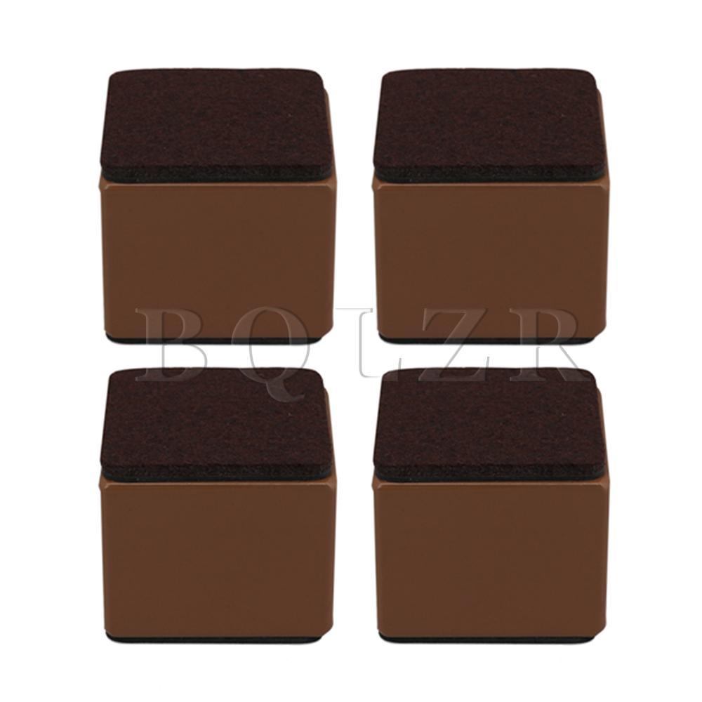 BQLZR 4pcs 6x6x5.3cm Carbon Steel Brown Furniture Legs Lifter For Sofa Table