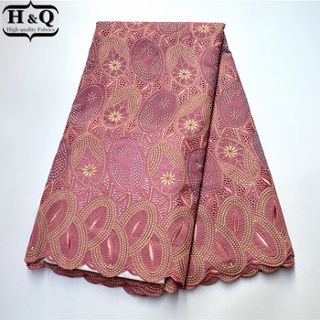2020 Skin Pink African Lace Fabric High Quality Voile Cotton Fabric Fashion Nigerian Lace With Stones And Rhinestones For Party