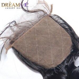Image 4 - ברזילאי גוף גל משי בסיס סגירת משי למעלה סגר עם תינוק שיער נסתרת קשרים שיער טבעי סגירת Dreamme רמי שיער