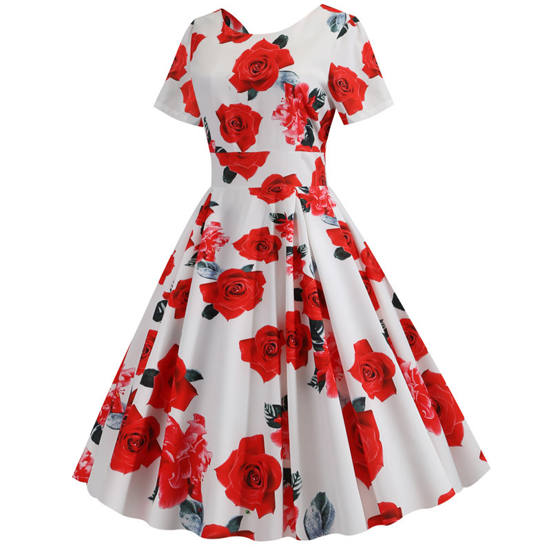 Summer Floral Print Elegant A-line Party Dress Women Slim White Short Sleeve Swing Pin up Vintage Dresses Plus Size Robe Femme 220