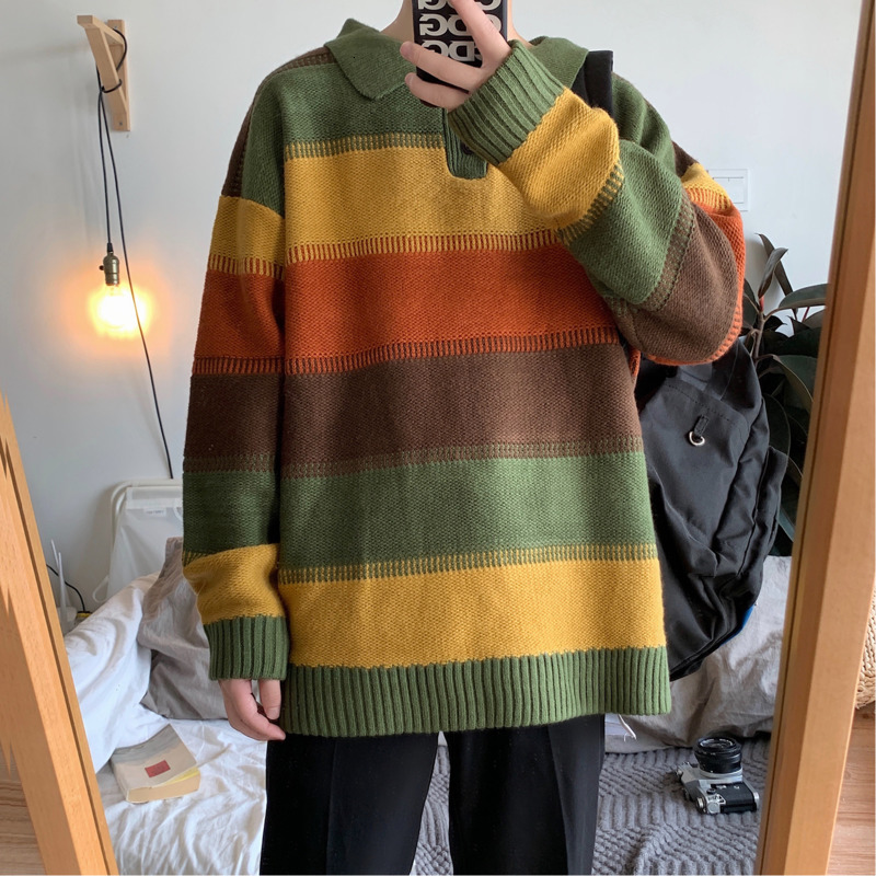 Winter Striped Sweater Men's Warm Fashion Contrast Color Casual Lapel Knit Sweater Man Wild Loose Long-sleeved Pullover Male