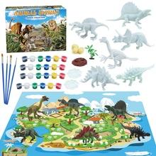 42 sztuk Diy malowane dinozaur biały pusty Model dłoni malowanie dinozaur Graffiti dzieci zabawki tanie tanio CN (pochodzenie) Kids Painting Animal Model toy set