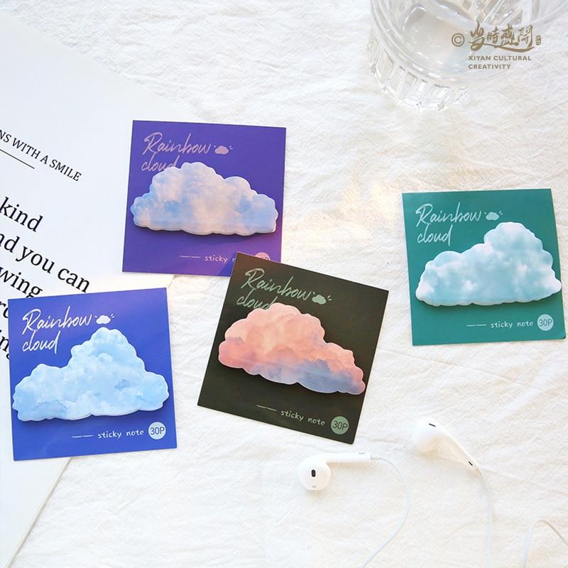 30 pçs estilo ins arco-íris nuvem bonito dos desenhos animados bloco de notas pegajosas bloco de notas diário escola suprimentos papelaria kawaii diy scrapbooking