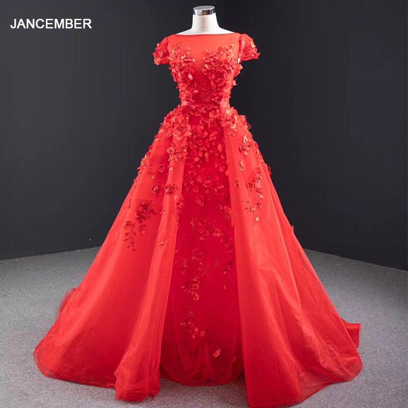 J67077 Jancember Party Dresses Women Evening Elegangt O Neck Cap Sleeve Detachable Train Red Evening Dress Robe Soiree Dubai