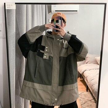 2019 Autumn Men's Leisure Streetwear Bomber Jacket Male More Pocket Student Loose Coats Jacket Male Loose Windbreaker M-2XL