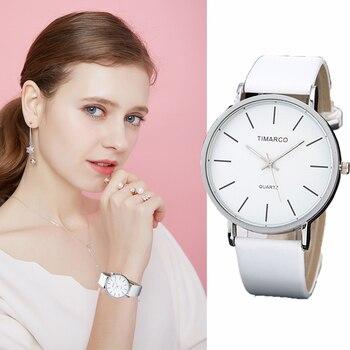 2021 New Watches Women Round White Dial Wrist Watches White Leather Fashion Brand Watch Female Ladies Quartz Clock montre femme