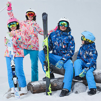 30 degree Parent child outfit ski suit 2pcs set kids Jacket and pants children snowsuit Waterproof Matching Family Outfits