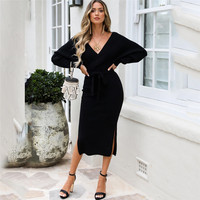 Women's Clothing Fall and Winter Long Sleeve Fashion Sweater Knitted Dress