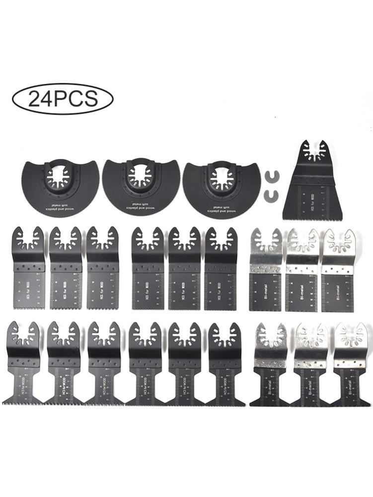 24PCS Oscillating Saw Cutters Universal Multi Tool Quick Release Saw Cutters Kit Cutting Oscillating Tool For Metal Wood Plastic