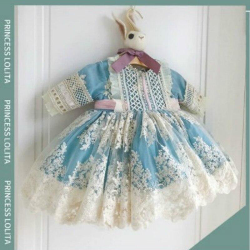 2020 otoño niños vestido español azul personalizado de calidad vestido de niña Lolita princesa corte vestido de bebé dulce vestido de Navidad niñas Corralitos de bebé, vallas para niños, equipo de actividades, barrera de juego de Protección Ambiental, valla de seguridad, patio de juegos educativo