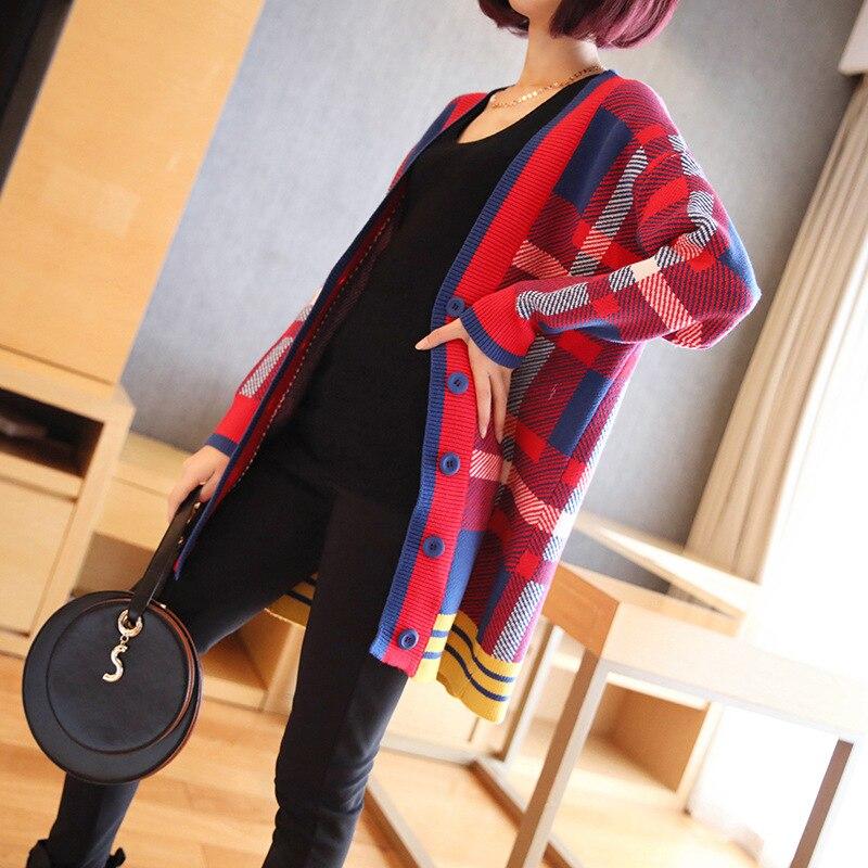 Женский клетчатый кардиган с темпераментом, свитер 2019, осенний и зимний новый корейский женский свободный свитер, пальто