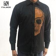 F. n. שקע 2019 הגעה חדשה Mens חולצה ארוך שרוול גולגולת דפוס עבה גבר חולצות מקרית חורף זכר חולצות