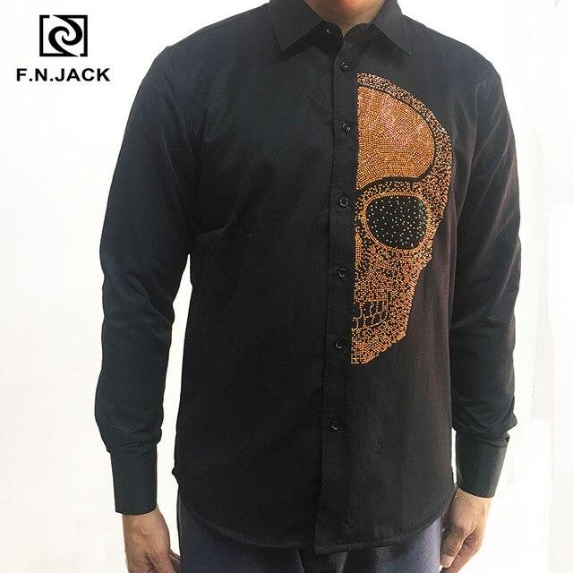 F. n. JACK 2019 Neue Ankunft Herren Hemd Langarm Schädel Muster Dicke Mann Shirts Casual Winter Männlichen Tops
