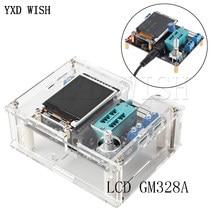 Probador de Transistor LCD GM328A, medidor de frecuencia ESR de capacitancia de diodo, generador de señal de onda cuadrada PWM con funda, inglés y ruso