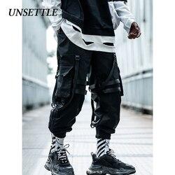 Unsettle 2020 봄/여름 힙합 조깅 남자/여자 블랙 하렘 바지 멀티 포켓 트레이닝 복 streetwear casual mens pants