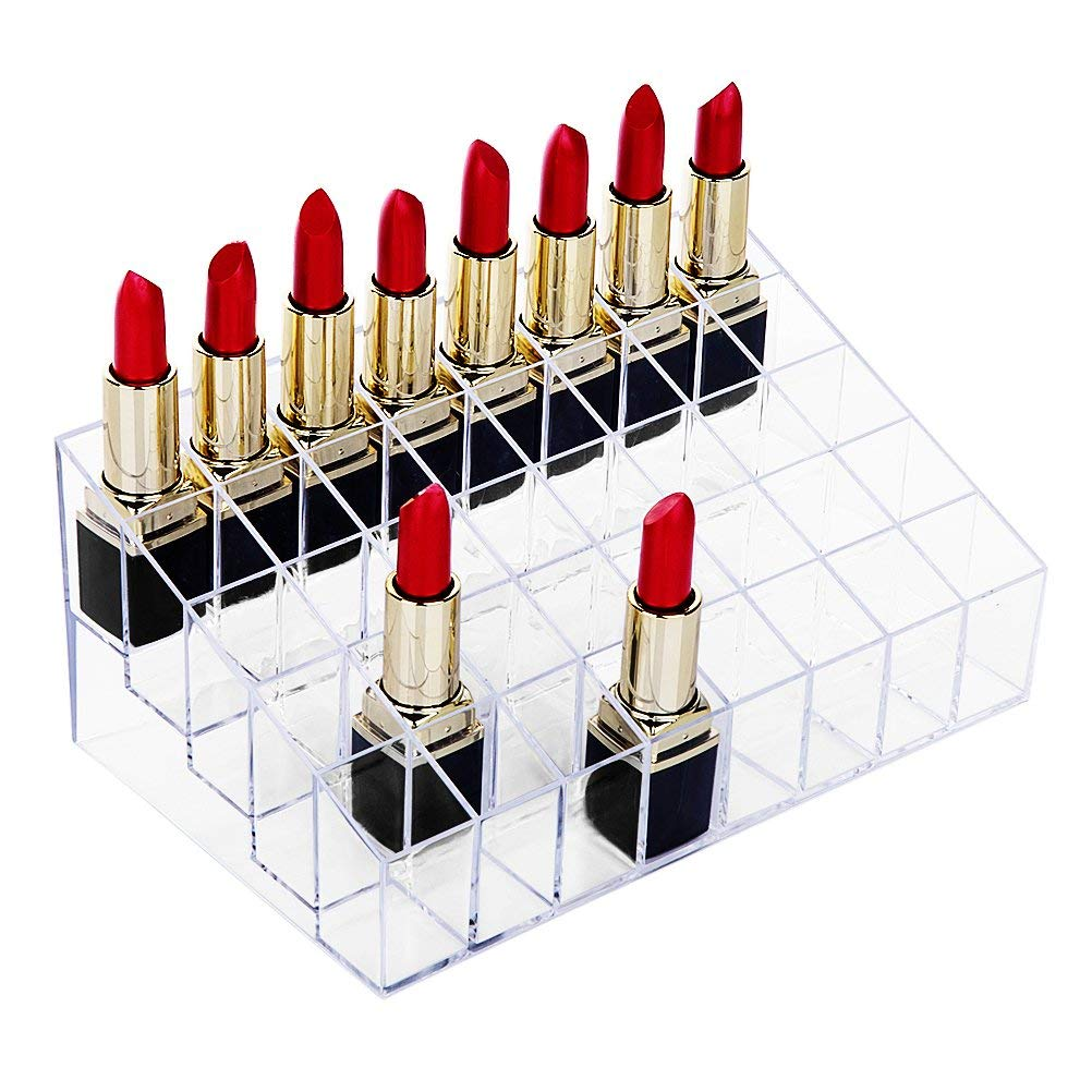 Lipstick Holder, 40 Spaces Clear Acrylic Lipstick Organizer Display Stand Cosmetic Makeup Organizer For Lipstick,Brushes,Bottles