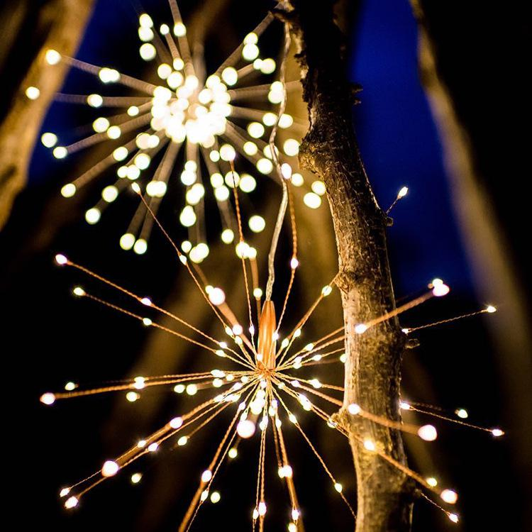 200 Led Solar Firework String Light Copper Wire Solar Panel Powered Fairy DIY Firework Starburst Xmas Wedding Light